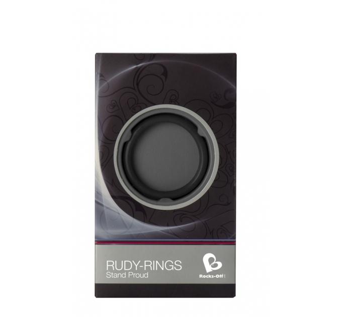 Эрекционное кольцо Rocks Off Rudy-Rings Black, сдвоенное, эластичное
