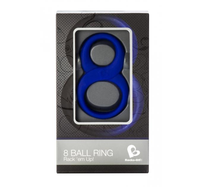 Эрекционное кольцо Rocks Off 8 Ball Blue для члена и мошонки, эластичное