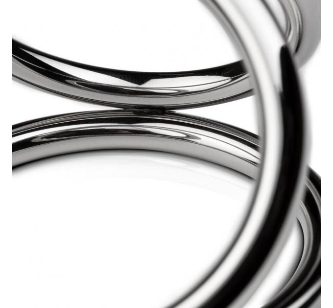Тройное эрекционное кольцо Sinner Gear Unbendable - Triad Chamber Metal Cock and Ball Ring - Large