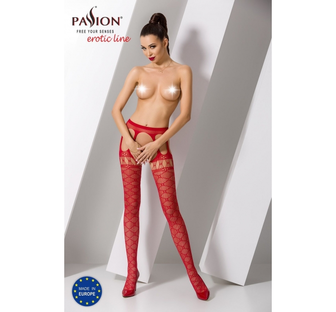 Эротические колготки-бодистокинг Passion S025 red, имитация ажурных чулочков с пояском
