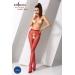 Эротические колготки-бодистокинг Passion S019 red, имитация трусиков ажурных с доступом, в сеточку