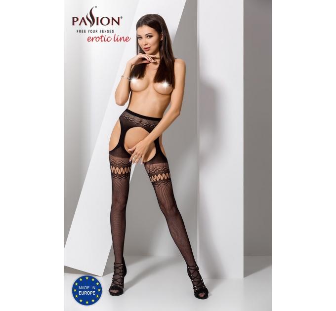 Эротические колготки-бодистокинг Passion S013 black, имитация высоких ажурных чулок и пояса