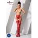 Эротические колготки-бодистокинг Passion S016 red, имитация ажурных с доступом трусиков и чулок