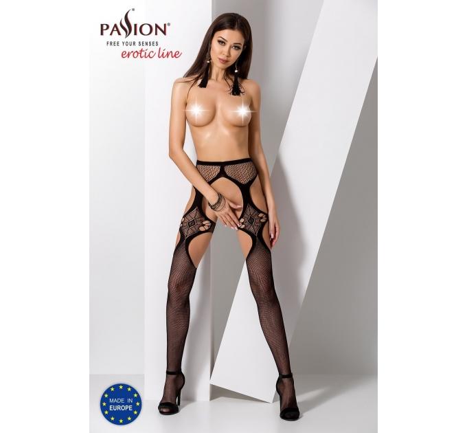 Эротические колготки-бодистокинг Passion S023 black, имитация чулок с секси ромбами и пояском
