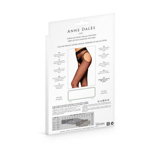 Колготки-чулки с поясом Anne De Ales MORGANE T3 Black, мелкая сеточка, с доступом