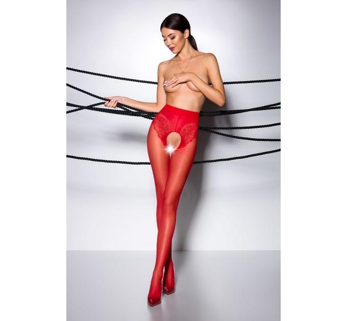 Эротические колготки TIOPEN 006 roso 3/4 (30 den) - Passion, с вырезом, имитация трусиков