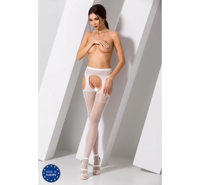 Эротические колготки-бодистокинг Passion S005 white, имитация чулок и пояса для чулок
