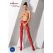 Эротические колготки-бодистокинг Passion S023 red, имитация чулок с секси ромбами и пояском