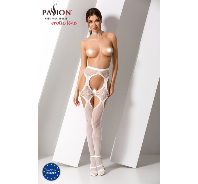 Эротические колготки-бодистокинг Passion S023 white, имитация чулок с секси ромбами и пояском
