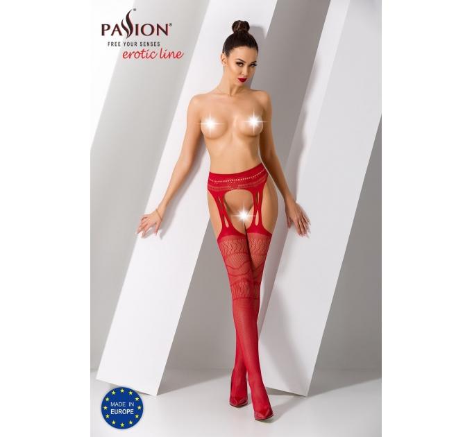 Эротические колготки-бодистокинг Passion S020 red, имитация ажурных чулок с высоким поясом