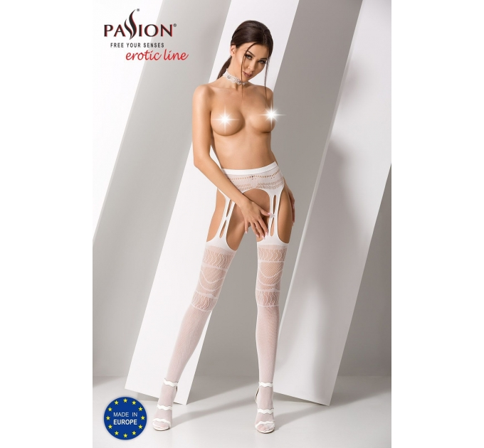 Эротические колготки-бодистокинг Passion S020 white, имитация ажурных чулок с высоким поясом