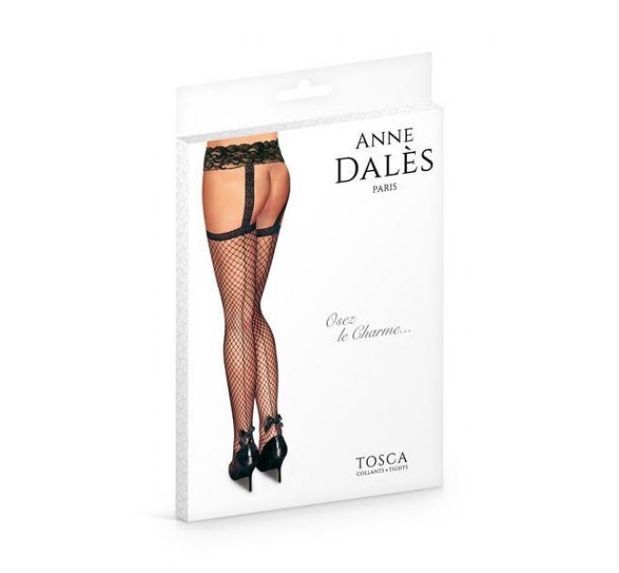 Чулки с поясом Anne De Ales TOSCA T1 Black, средняя сеточка, сзади стрелки, кружевной пояс