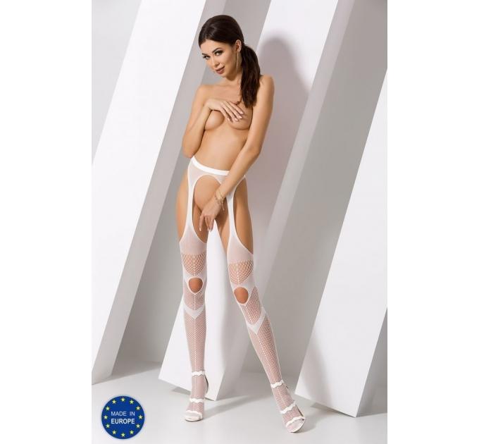 Эротические колготки-бодистокинг Passion S009 white, имитация чулок и пояса