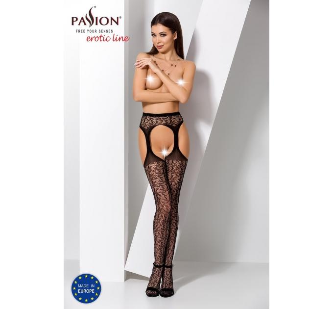 Эротические колготки-бодистокинг Passion S014 black, имитация чулок в сеточку и пояса