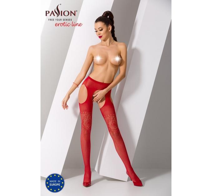 Эротические колготки-бодистокинг Passion S017 red, имитация ажурных чулок и пояса