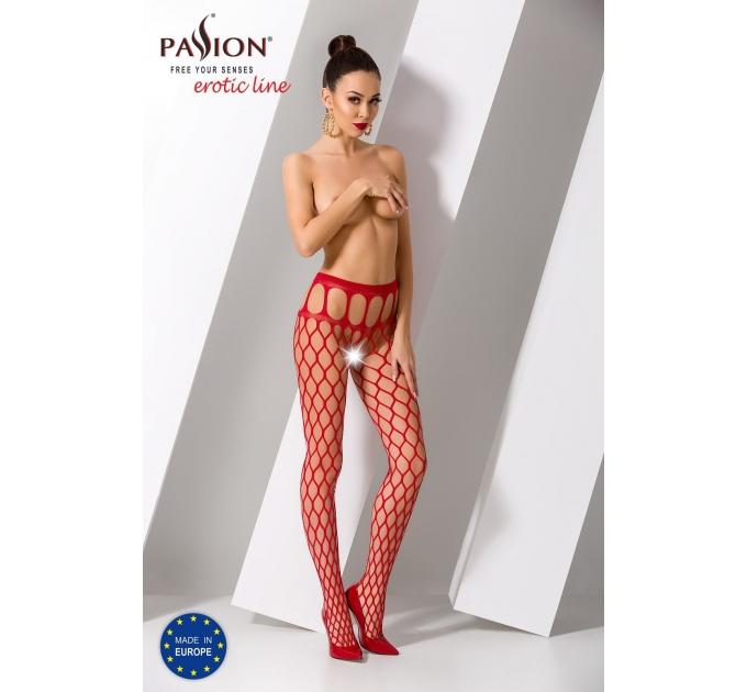 Эротические колготки-бодистокинг Passion S021 red, в крупную сетку с высоким пояском