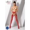 Эротические колготки-бодистокинг Passion S014 red, имитация чулок в сеточку и пояса