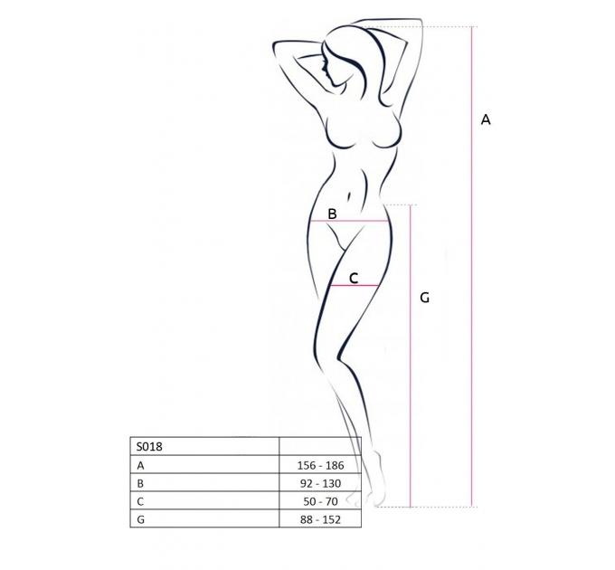 Эротические колготки-бодистокинг Passion S018 black, имитация чулок с вертикальными полосками и пояс