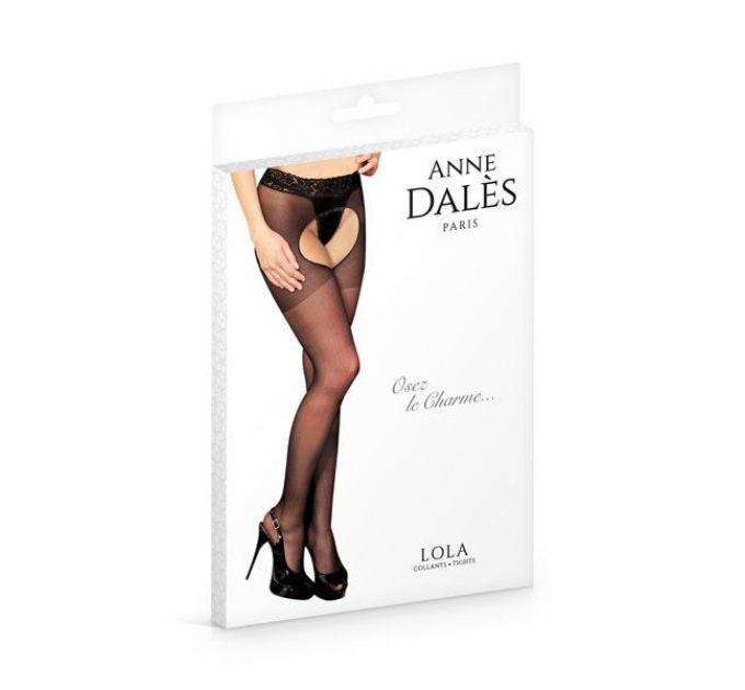 Колготки-чулки с поясом Anne De Ales LOLA T1 Black, с доступом и открытой попой