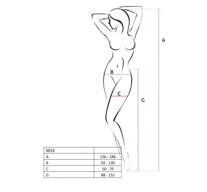 Эротические колготки-бодистокинг Passion S015 black, имитация чулок в сеточку и трусиков с доступом
