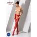 Эротические колготки-бодистокинг Passion S018 red, имитация чулок с вертикальными полосками и пояс