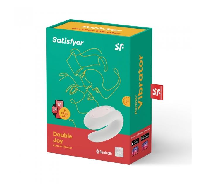Смарт-вибратор для пар Satisfyer Double Joy White с широким клиторальным стимулятором