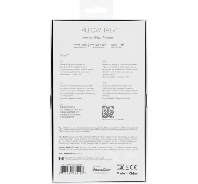 Роскошный вибратор Pillow Talk - Sassy Teal с кристаллом Сваровски для точки G, подарочная упаковка