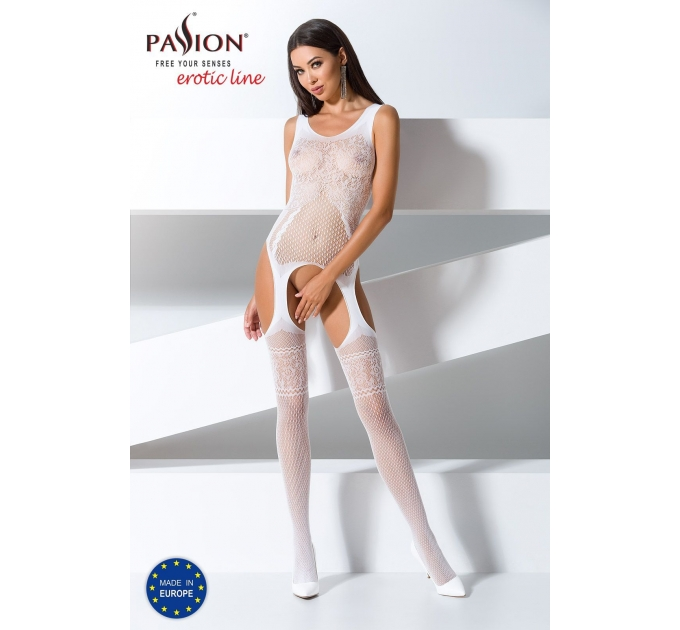 Бодистокинг Passion BS061 white, комбинезон, имитация чулок