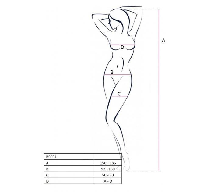 Бодистокинг Passion BS021 black, комбинезон, мелкая сеточка по телу, крупная сетка на ногах
