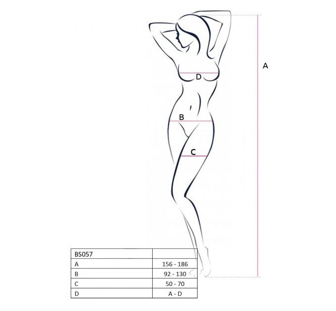 Бодистокинг Passion BS057 black, комбинезон, имитация чулок и пояса