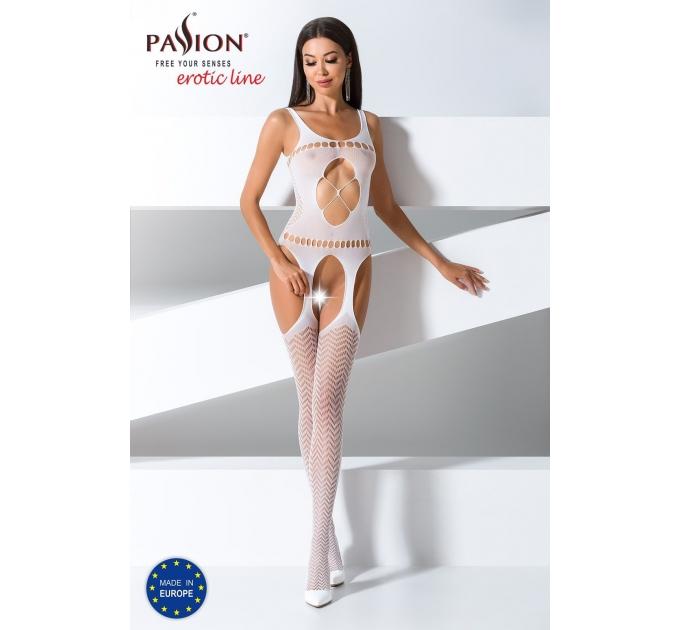 Бодистокинг Passion BS057 white, комбинезон, имитация чулок и пояса