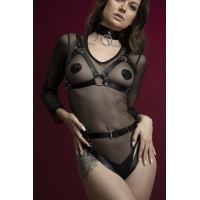 Портупея на грудь Feral Feelings - Harness Bra, лиф, натуральная кожа, цвет черный