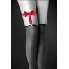 Гартер на ногу Bijoux Pour Toi - WITH BOW Red, сексуальная подвязка с бантиком, экокожа