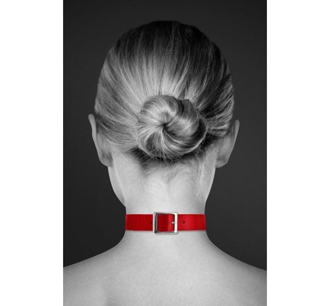 Чокер с кольцом для поводка Bijoux Pour Toi - FETISH Red, экокожа