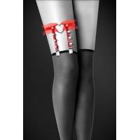 Гартер на ногу Bijoux Pour Toi - WITH HEART AND SPIKES Red, сексуальная подвязка с сердечком