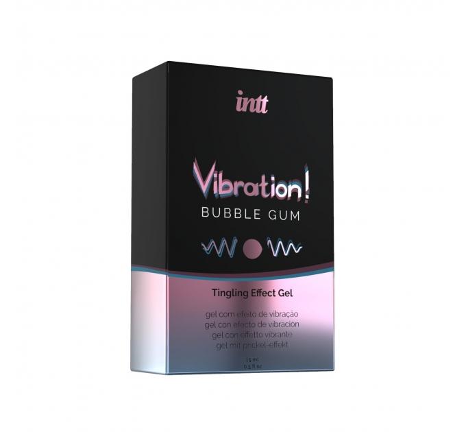 Жидкий вибратор Intt Vibration Bubble Gum (15 мл), густой гель, очень вкусный, действует до 30 минут