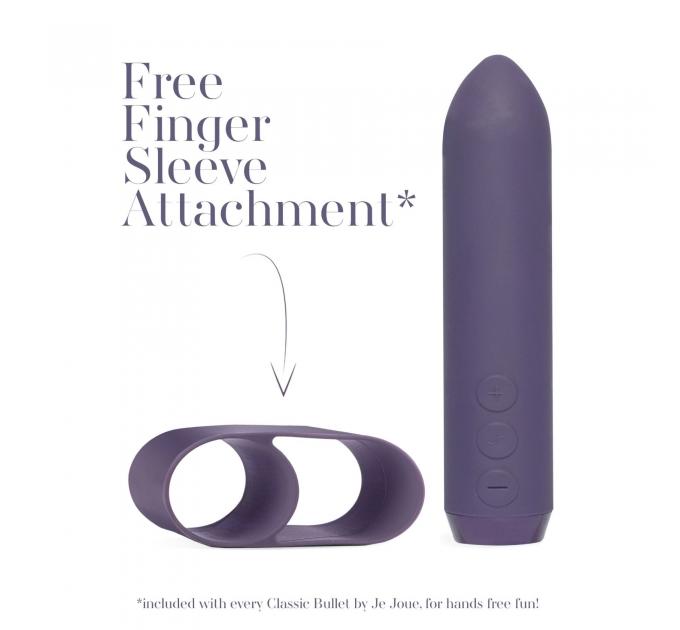 Минивибратор Je Joue - Classic Bullet Vibrator Purple с глубокой вибрацией и фиксацией на палец