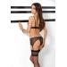 Комплект белья VELIA SET black L/XL - Passion Exclusive: полупрозрачный лиф, трусики-пояс для чулок