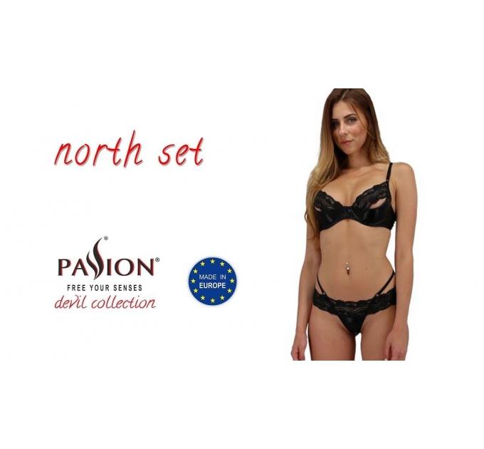Комплект белья NORTH SET black S/M - Passion Exclusive: лиф и трусики с элементами под латекс