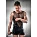 Комплект белья Passion 016 SET black S/M, шортики под латекс и полупрозрачная маечка