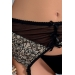 Комплект белья MONTANA SET black L/XL - Passion Exclusive: лиф, стринги и пояс для чулок