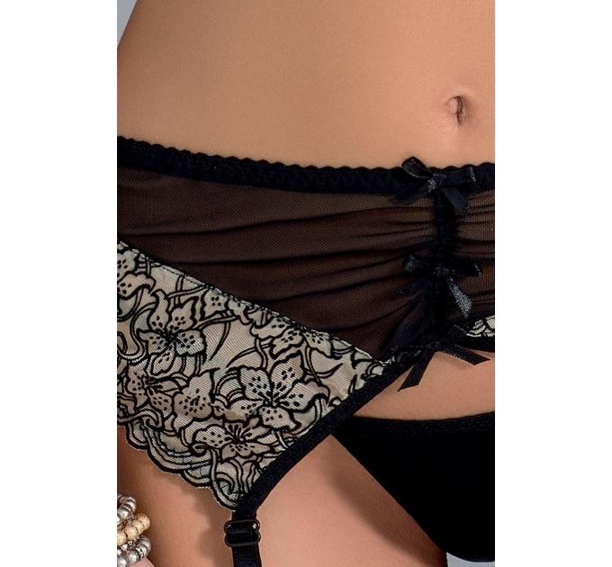 Комплект белья MONTANA SET black S/M - Passion Exclusive: лиф, стринги и пояс для чулок