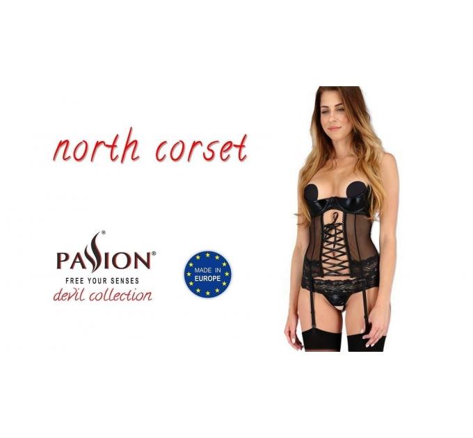 Корсет с открытой грудью NORTH CORSET black L/XL - Passion Exclusive, пажи, трусики, шнуровка