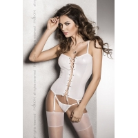 Корсет под латекс с пажами BES CORSET white L/XL - Passion Exclusive, стринги, шнуровка