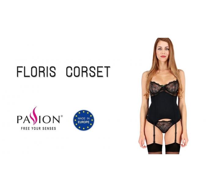 Корсет с пажами FLORIS CORSET black XXL/XXXL - Passion Exclusive, трусики