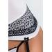 Корсет с пажами SUELO CORSET white XXL/XXXL - Passion Exclusive, трусики, шнуровка