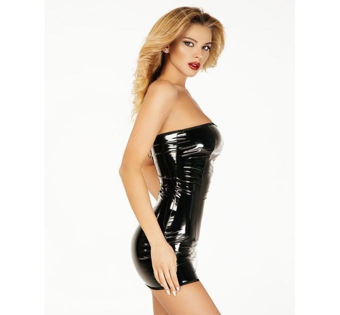 """Платье лакированное черное """"Соблазнительница Марго"""" XL, молния на всю длину сзади"""