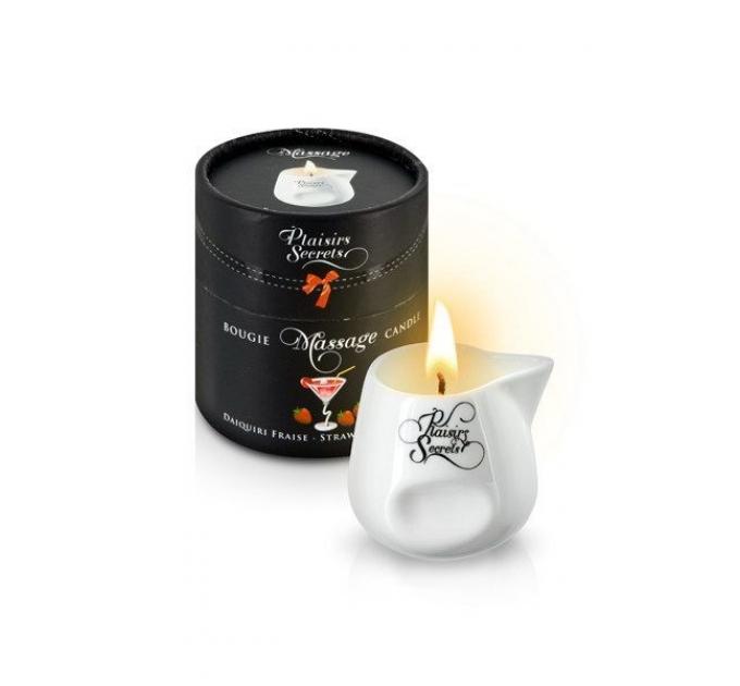 Массажная свеча Plaisirs Secrets Strawberry Daiquiri (80 мл) подарочная упаковка, керамический сосуд