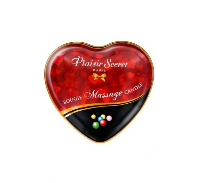 Массажная свеча сердечко Plaisirs Secrets Bubble Gum (35 мл)