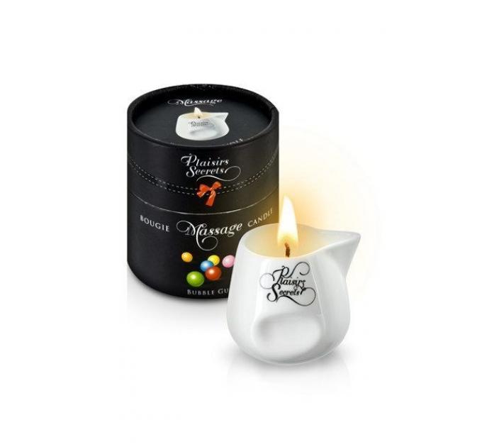 Массажная свеча Plaisirs Secrets Bubble Gum (80 мл) подарочная упаковка, керамический сосуд